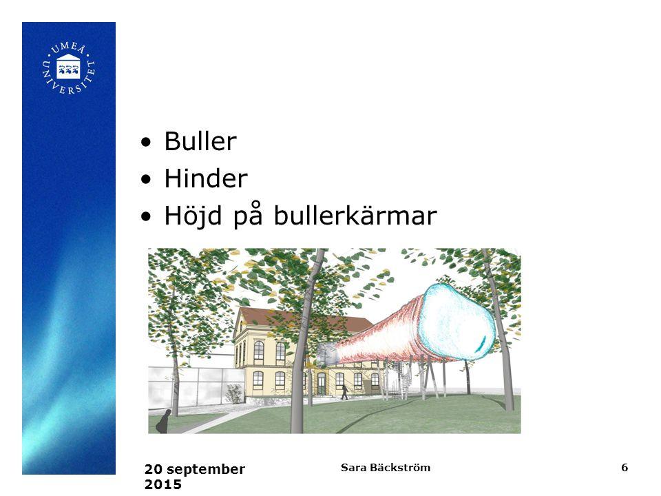 Buller Hinder Höjd på bullerkärmar 20 september 2015 Sara Bäckström6