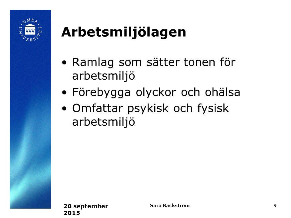 Arbetsmiljölagen Ramlag som sätter tonen för arbetsmiljö Förebygga olyckor och ohälsa Omfattar psykisk och fysisk arbetsmiljö 20 september 2015 Sara Bäckström9