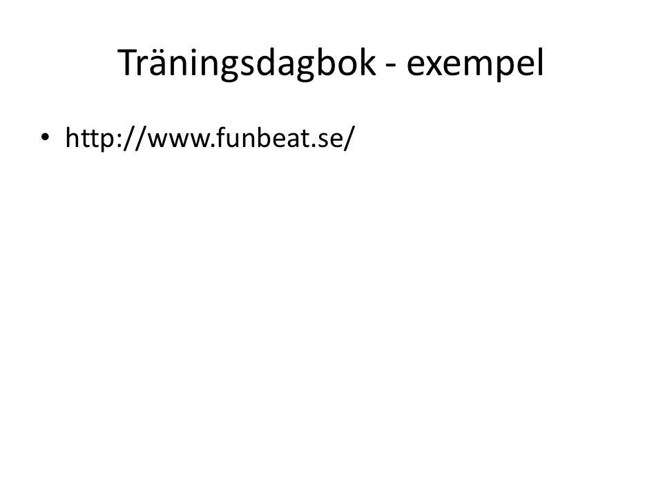 Träningsdagbok - exempel http://www.funbeat.se/
