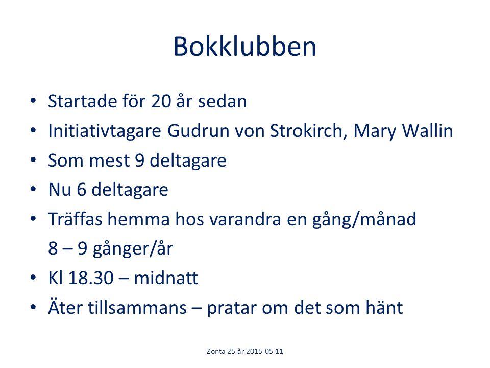 Bokklubben Startade för 20 år sedan Initiativtagare Gudrun von Strokirch, Mary Wallin Som mest 9 deltagare Nu 6 deltagare Träffas hemma hos varandra en gång/månad 8 – 9 gånger/år Kl 18.30 – midnatt Äter tillsammans – pratar om det som hänt Zonta 25 år 2015 05 11