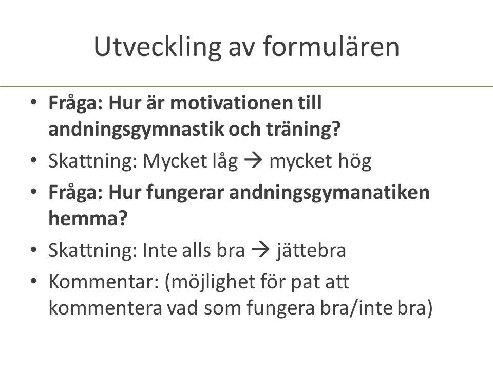 Utveckling av formulären Fråga: Hur är motivationen till andningsgymnastik och träning? Skattning: Mycket låg  mycket hög Fråga: Hur fungerar andning