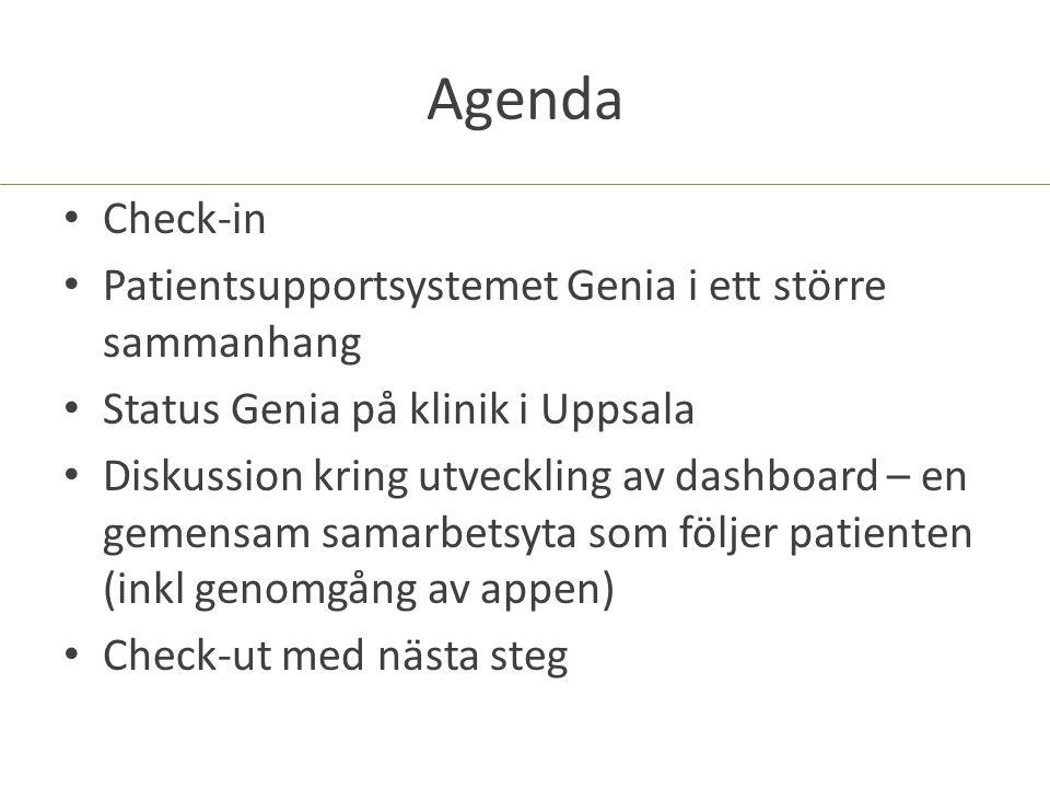Agenda Check-in Patientsupportsystemet Genia i ett större sammanhang Status Genia på klinik i Uppsala Diskussion kring utveckling av dashboard – en gemensam samarbetsyta som följer patienten (inkl genomgång av appen) Check-ut med nästa steg