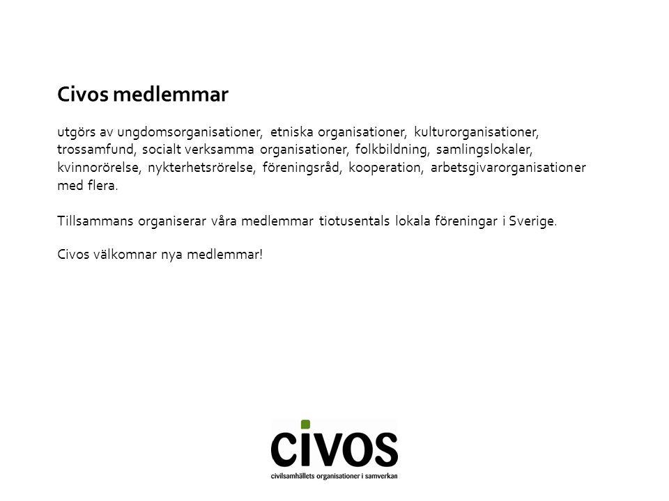 Civos uppgift att stärka civilsamhället och stärka organisationernas förutsättningar att verka för organisationernas bästa i våra gemensamma frågor att synliggöra civilsamhället och den betydelse det har för enskildas liv och för samhällets utveckling att vara en dialogpart för regeringen i de gemensamma frågorna www.civos.se www.civos.se/enkelt Det ska vara enkelt att engagera sig (även Facebook) www.civos.se www.civos.se/enkelt