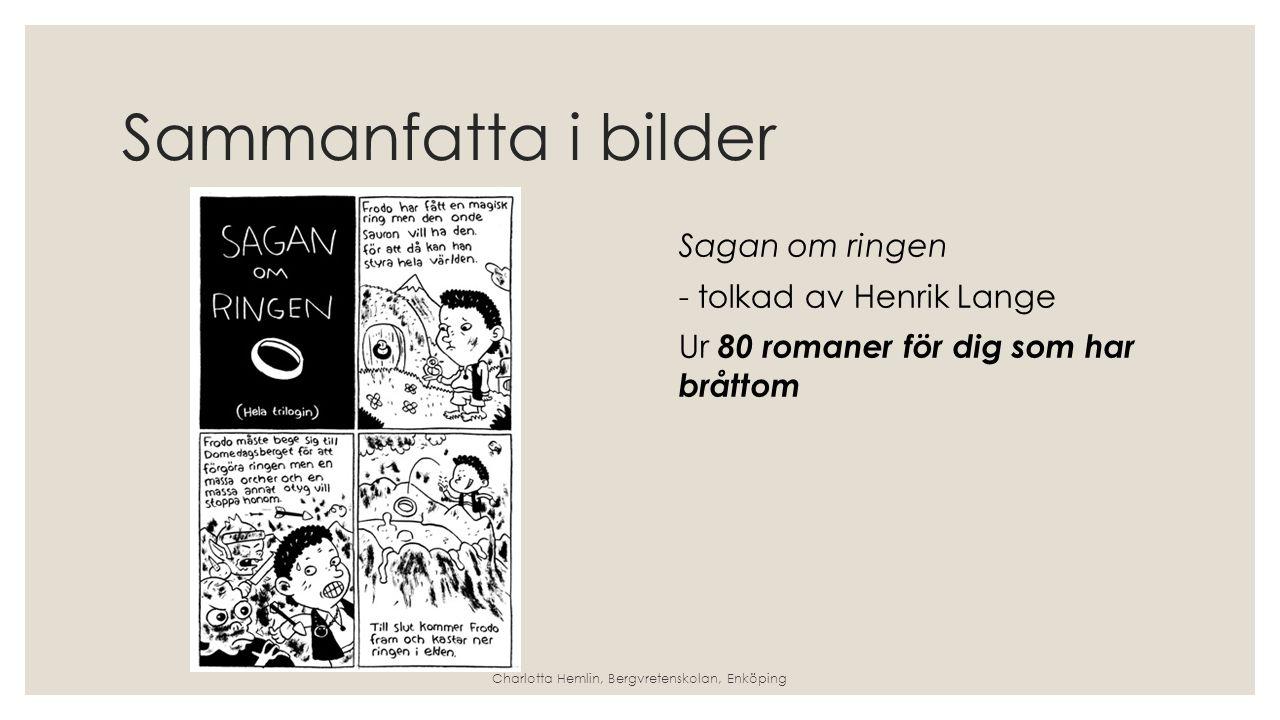 Sammanfatta i bilder Sagan om ringen - tolkad av Henrik Lange Ur 80 romaner för dig som har bråttom Charlotta Hemlin, Bergvretenskolan, Enköping