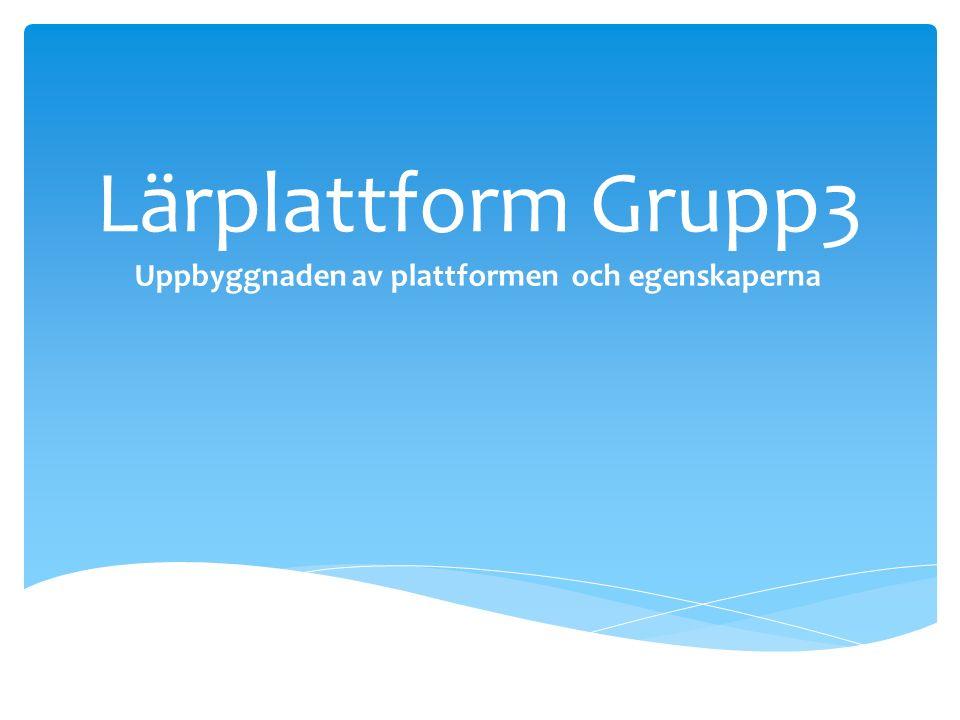 Lärplattform Grupp3 Uppbyggnaden av plattformen och egenskaperna