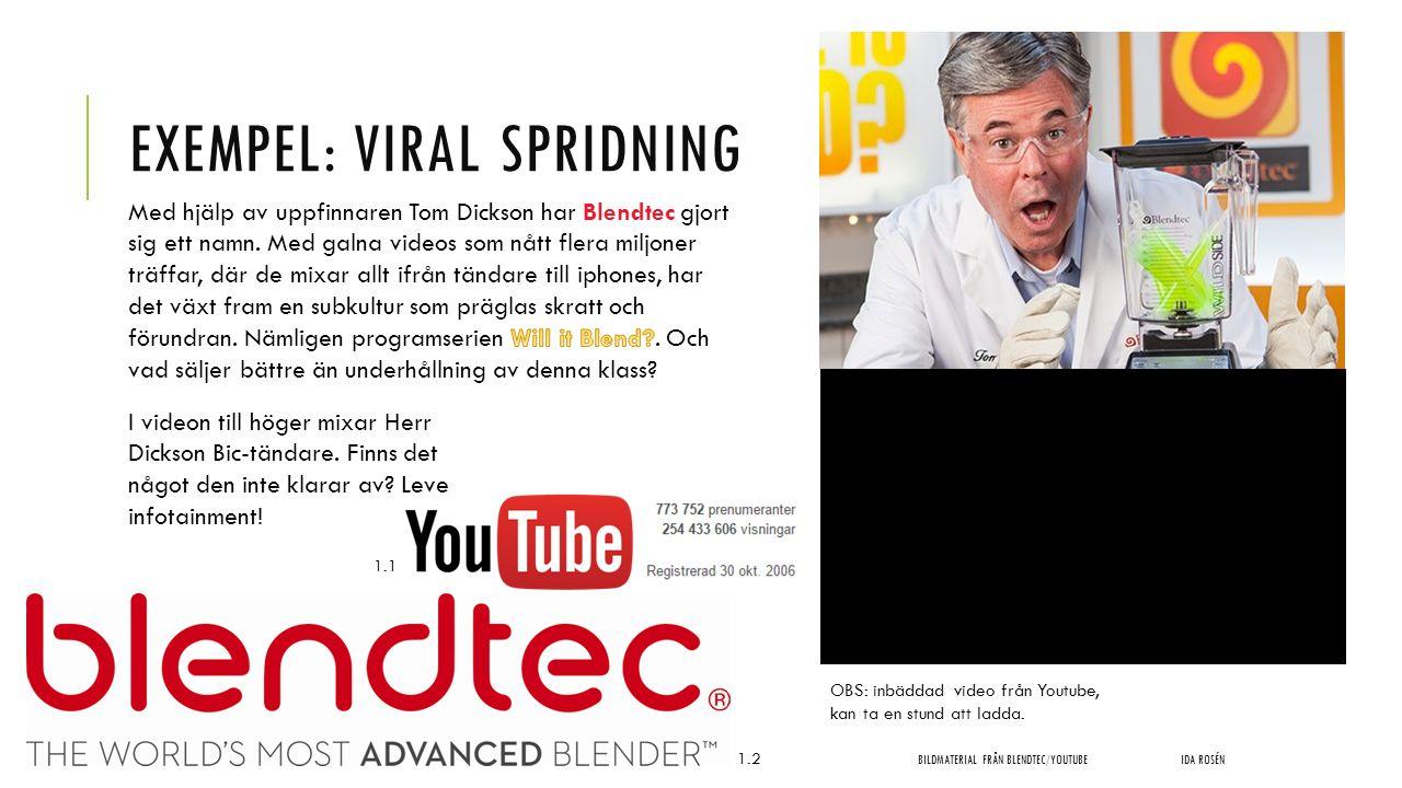 EXEMPEL: VIRAL SPRIDNING BILDMATERIAL FRÅN BLENDTEC/YOUTUBEIDA ROSÉN OBS: inbäddad video från Youtube, kan ta en stund att ladda. I videon till höger