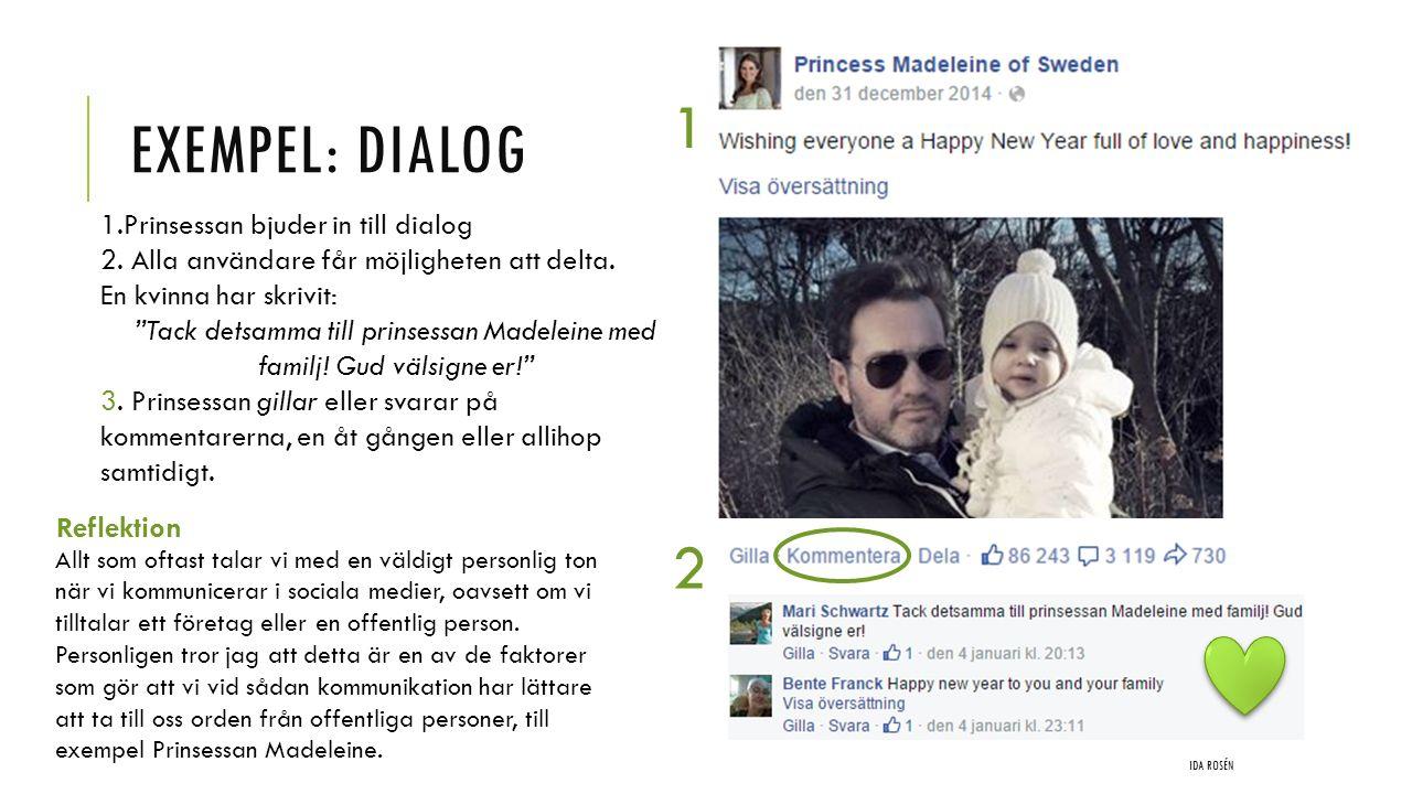 """EXEMPEL: DIALOG IDA ROSÉN 1 2 1.Prinsessan bjuder in till dialog 2. Alla användare får möjligheten att delta. En kvinna har skrivit: """"Tack detsamma ti"""