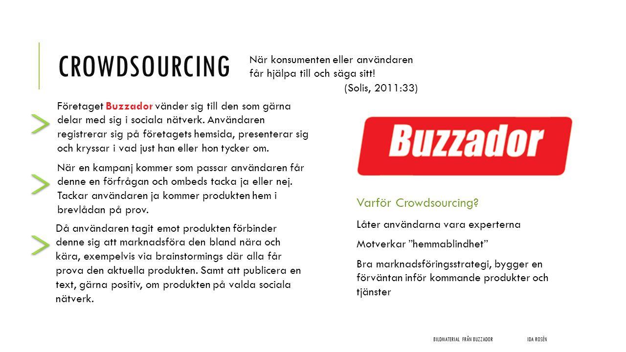 CROWDSOURCING BILDMATERIAL FRÅN BUZZADORIDA ROSÉN När konsumenten eller användaren får hjälpa till och säga sitt! (Solis, 2011:33) Företaget Buzzador