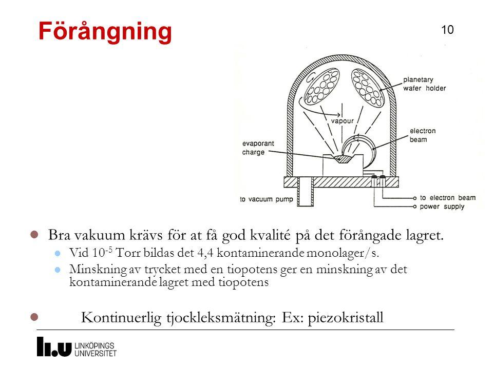 Förångning 10 Bra vakuum krävs för at få god kvalité på det förångade lagret.