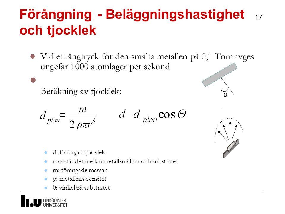 Förångning - Beläggningshastighet och tjocklek 17 Vid ett ångtryck för den smälta metallen på 0,1 Torr avges ungefär 1000 atomlager per sekund Beräkning av tjocklek: d: förångad tjocklek r: avståndet mellan metallsmältan och substratet m: förångade massan ρ: metallens densitet θ: vinkel på substratet θ