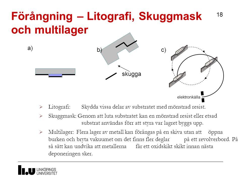 Förångning – Litografi, Skuggmask och multilager 18  Litografi: Skydda vissa delar av substratet med mönstrad resist.