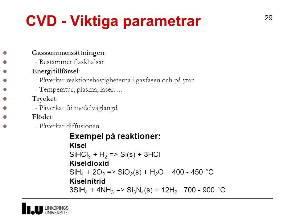 CVD - Viktiga parametrar 29 Gassammansättningen: - Bestämmer flaskhalsar Energitillförsel: - Påverkar reaktionshastigheterna i gasfasen och på ytan - Temperatur, plasma, laser….