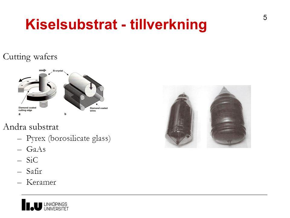 5 Cutting wafers Andra substrat –Pyrex (borosilicate glass) –GaAs –SiC –Safir –Keramer