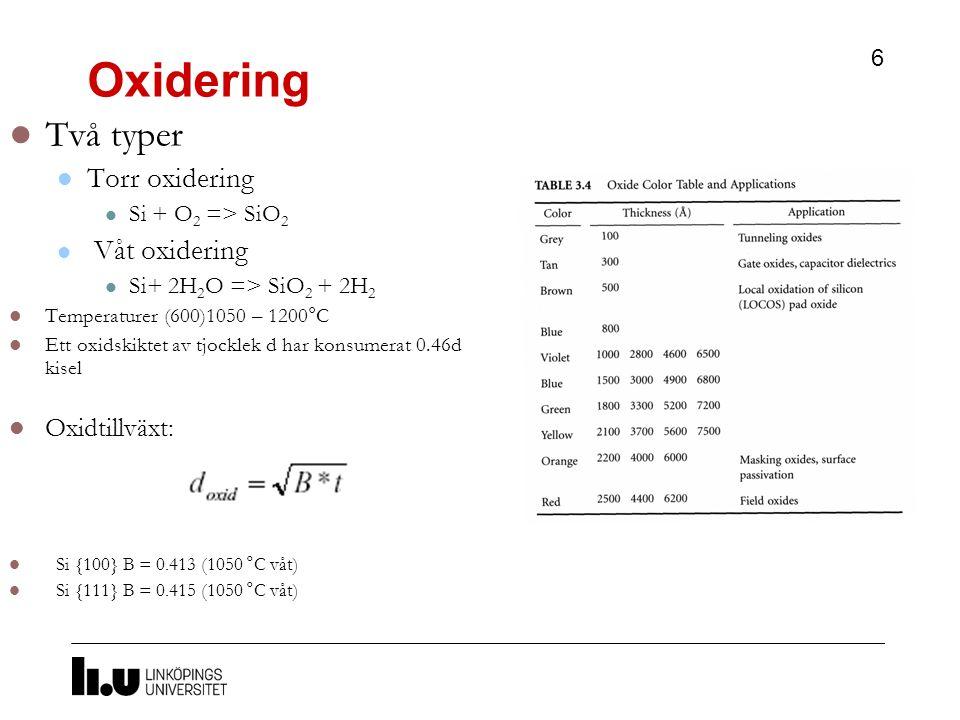Oxidering 6 Två typer Torr oxidering Si + O 2 => SiO 2 Våt oxidering Si+ 2H 2 O => SiO 2 + 2H 2 Temperaturer (600)1050 – 1200°C Ett oxidskiktet av tjocklek d har konsumerat 0.46d kisel Oxidtillväxt: Si {100} B = 0.413 (1050 °C våt) Si {111} B = 0.415 (1050 °C våt)