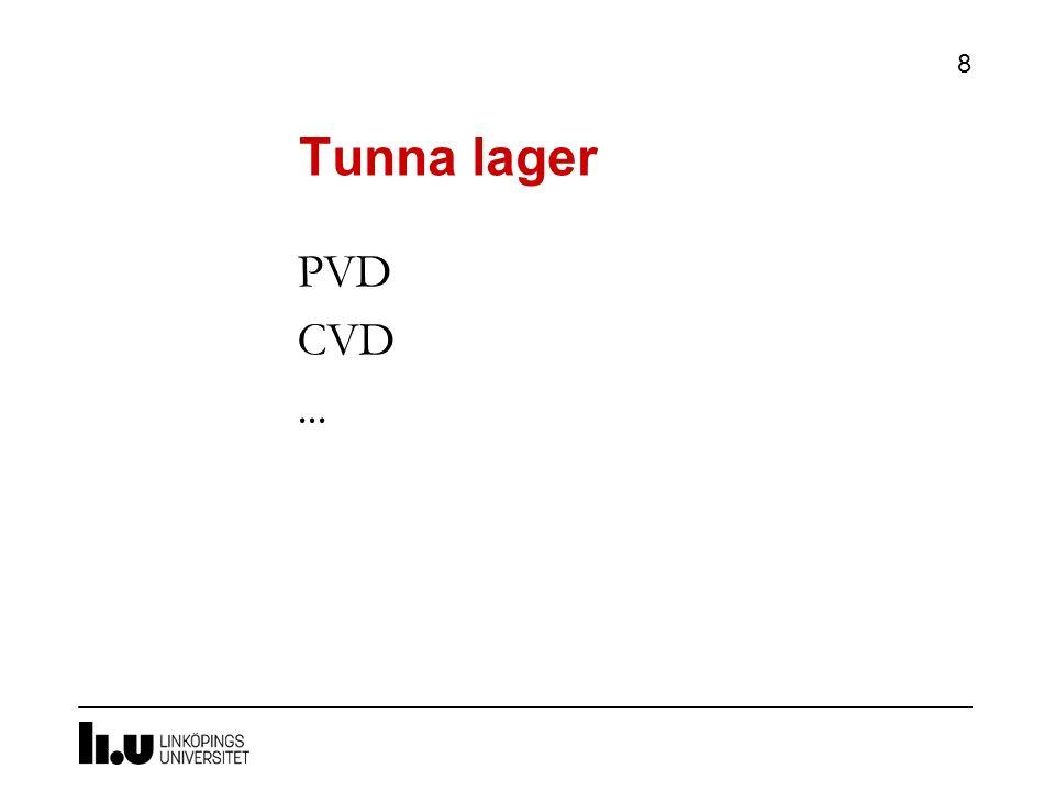 Tunna lager 8 PVD CVD...