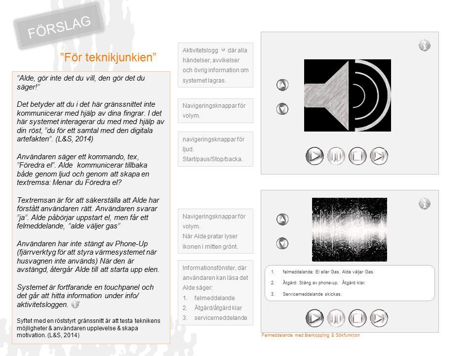 FÖRSLAG 3 D etta gränssnitt vänder sig till den erfarne användaren som vet vad han vilka funktioner han vill komma åt via snabbkommando.