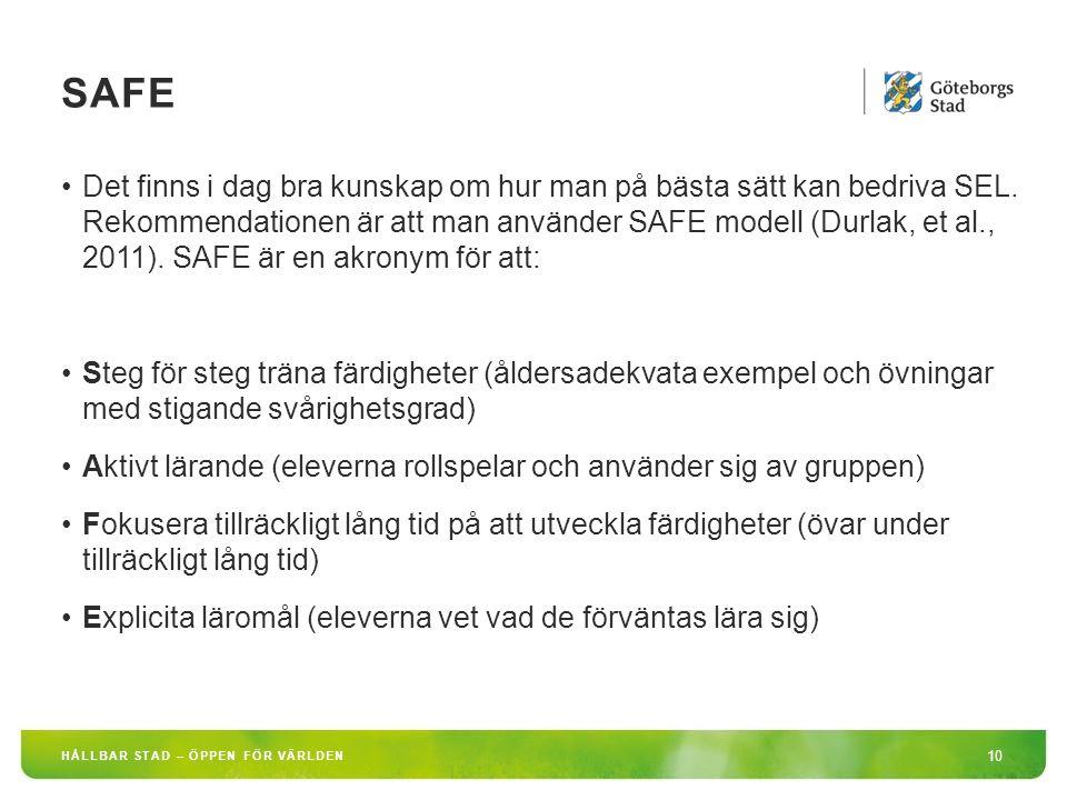 SAFE 10 HÅLLBAR STAD – ÖPPEN FÖR VÄRLDEN Det finns i dag bra kunskap om hur man på bästa sätt kan bedriva SEL. Rekommendationen är att man använder SA