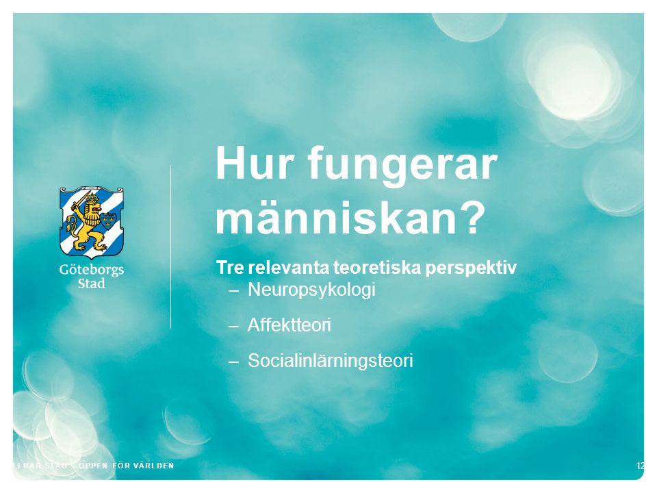 Hur fungerar människan? Tre relevanta teoretiska perspektiv –Neuropsykologi –Affektteori –Socialinlärningsteori 12 HÅLLBAR STAD – ÖPPEN FÖR VÄRLDEN