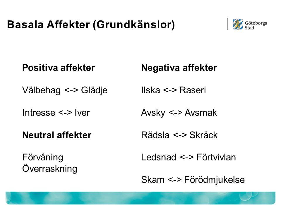Basala Affekter (Grundkänslor) Negativa affekter Ilska Raseri Avsky Avsmak Rädsla Skräck Ledsnad Förtvivlan Skam Förödmjukelse Positiva affekter Välbe