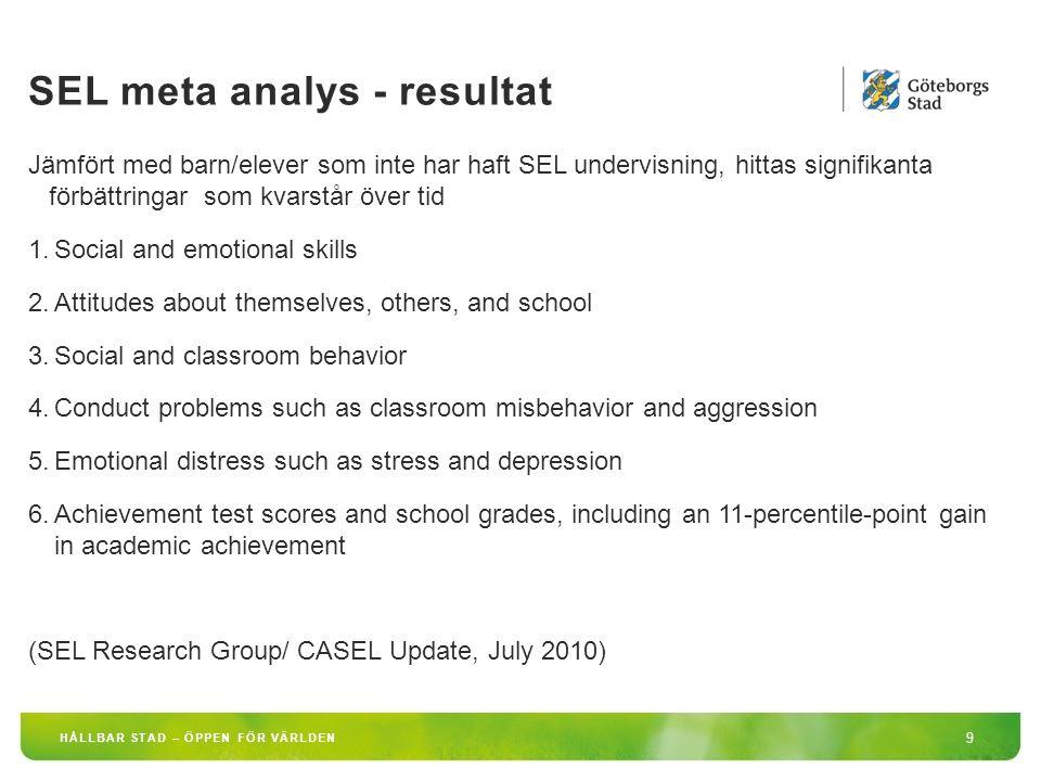SEL meta analys - resultat 9 HÅLLBAR STAD – ÖPPEN FÖR VÄRLDEN Jämfört med barn/elever som inte har haft SEL undervisning, hittas signifikanta förbättr