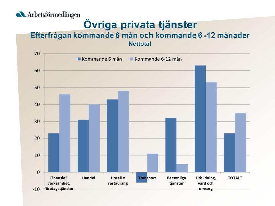 Övriga privata tjänster Efterfrågan kommande 6 mån och kommande 6 -12 månader Nettotal