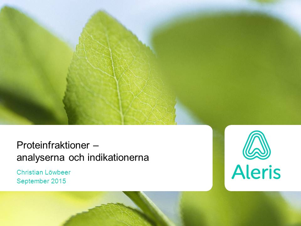Fibrinogen Sänkt koncentration vid: –Koagulation, DIC Förhöjd koncentration vid: –Inflammation –Nefrotiskt syndrom Transtyretin  Albumin  Alfa-1 antitrypsin  IgA  IgM  IgG  Fibrinogen  Komplementfaktor C3  Transferrin  Alfa-2 makroglobulin  Haptoglobin  Ceruloplasmin 