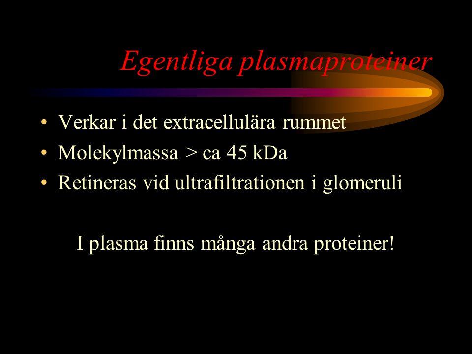 Transtyretin Sänkt koncentration vid: –Svält, fasta malnutritionsmarkör –Akut inflammation –Levercirros –Hypertyreos Transtyretin  Albumin  Alfa-1 antitrypsin  IgA  IgM  IgG  Fibrinogen  Komplementfaktor C3  Transferrin  Alfa-2 makroglobulin  Haptoglobin  Ceruloplasmin 