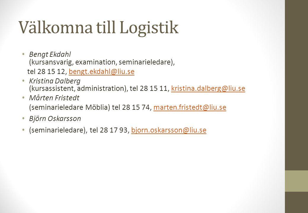 Välkomna till Logistik Bengt Ekdahl (kursansvarig, examination, seminarieledare), tel 28 15 12, bengt.ekdahl@liu.sebengt.ekdahl@liu.se Kristina Dalber