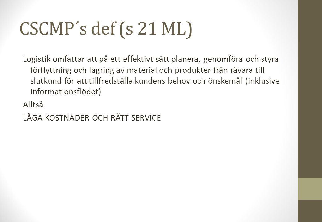 CSCMP´s def (s 21 ML) Logistik omfattar att på ett effektivt sätt planera, genomföra och styra förflyttning och lagring av material och produkter från