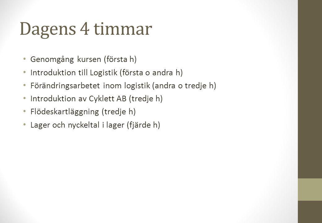 Dagens 4 timmar Genomgång kursen (första h) Introduktion till Logistik (första o andra h) Förändringsarbetet inom logistik (andra o tredje h) Introduk