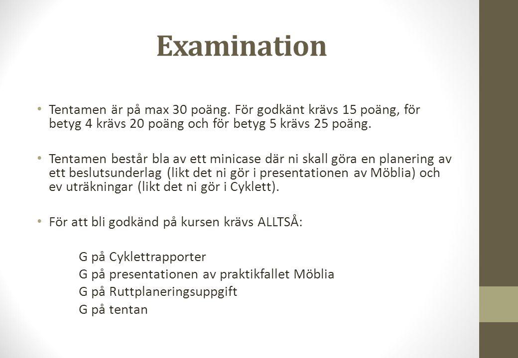 Examination Tentamen är på max 30 poäng. För godkänt krävs 15 poäng, för betyg 4 krävs 20 poäng och för betyg 5 krävs 25 poäng. Tentamen består bla av