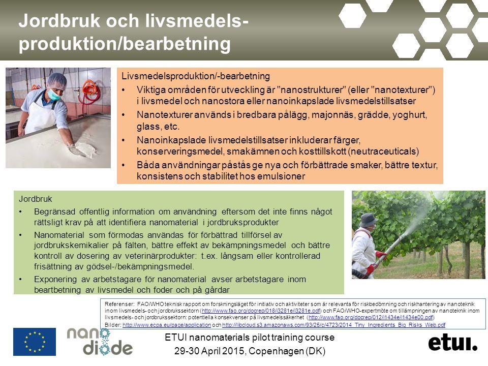 Jordbruk och livsmedels- produktion/bearbetning Jordbruk Begränsad offentlig information om användning eftersom det inte finns något rättsligt krav på