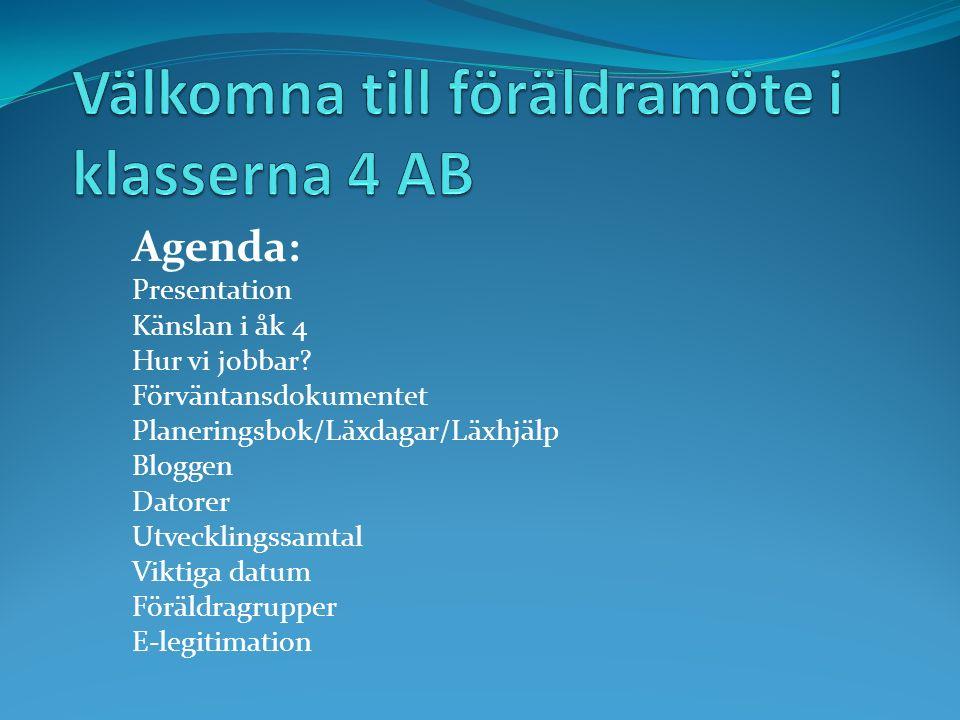 Agenda: Presentation Känslan i åk 4 Hur vi jobbar.