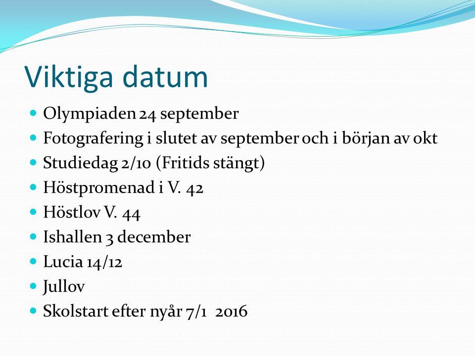 Viktiga datum Olympiaden 24 september Fotografering i slutet av september och i början av okt Studiedag 2/10 (Fritids stängt) Höstpromenad i V.