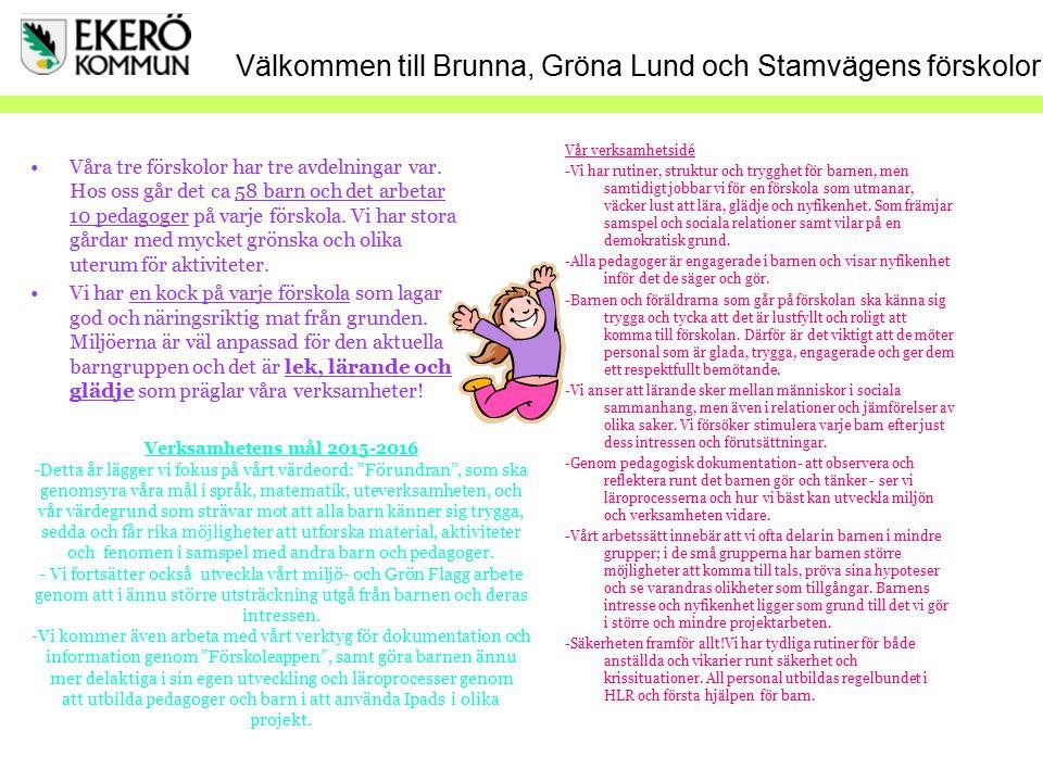 Välkommen till Brunna, Gröna Lund och Stamvägens förskolor Våra tre förskolor har tre avdelningar var. Hos oss går det ca 58 barn och det arbetar 10 p