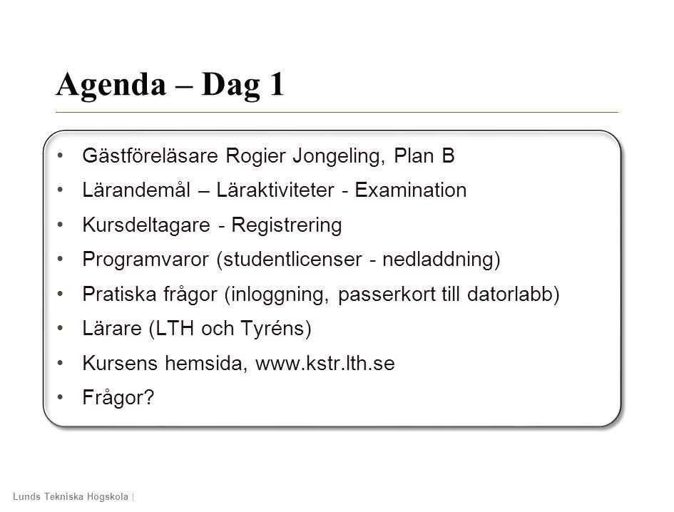 Lunds Tekniska Högskola | Xxxxxxxxxxxxxxxx | Xxxxxxxxxxxxxx | ÅÅÅÅ-MM-DD Agenda – Dag 1 Gästföreläsare Rogier Jongeling, Plan B Lärandemål – Läraktivi
