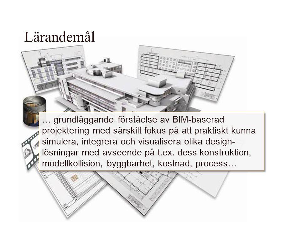 … grundläggande förståelse av BIM-baserad projektering med särskilt fokus på att praktiskt kunna simulera, integrera och visualisera olika design lös