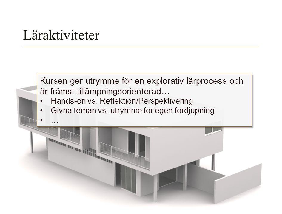 Lunds Tekniska Högskola | Xxxxxxxxxxxxxxxx | Xxxxxxxxxxxxxx | ÅÅÅÅ-MM-DD Läraktiviteter Kursen ger utrymme för en explorativ lärprocess och är främst