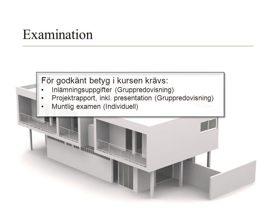 Lunds Tekniska Högskola | Xxxxxxxxxxxxxxxx | Xxxxxxxxxxxxxx | ÅÅÅÅ-MM-DD Examination För godkänt betyg i kursen krävs: Inlämningsuppgifter (Gruppredov