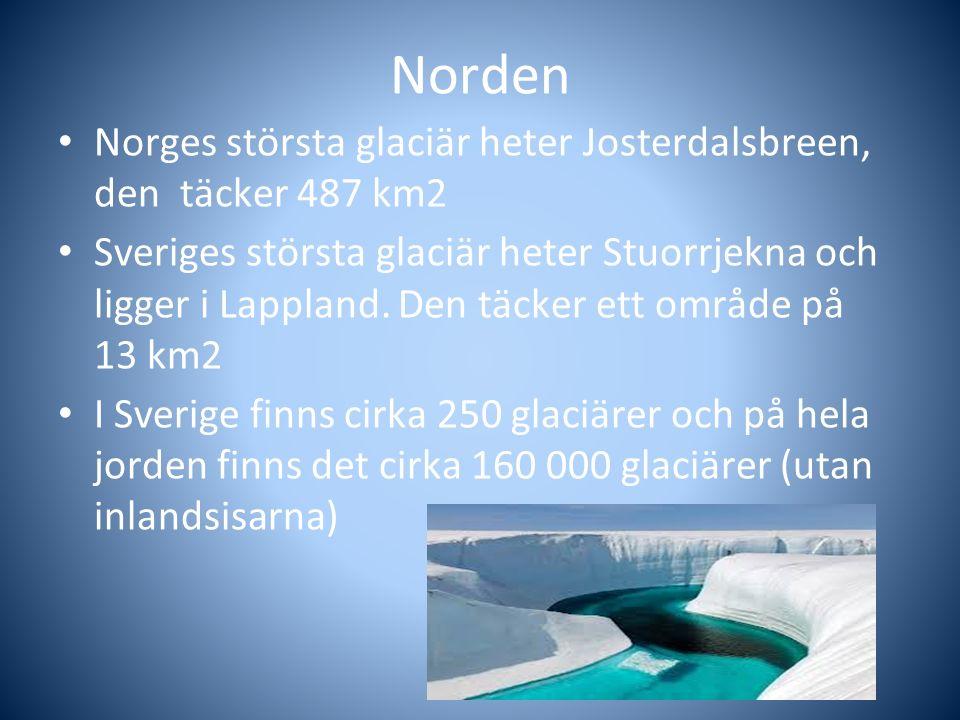 Norden Norges största glaciär heter Josterdalsbreen, den täcker 487 km2 Sveriges största glaciär heter Stuorrjekna och ligger i Lappland. Den täcker e
