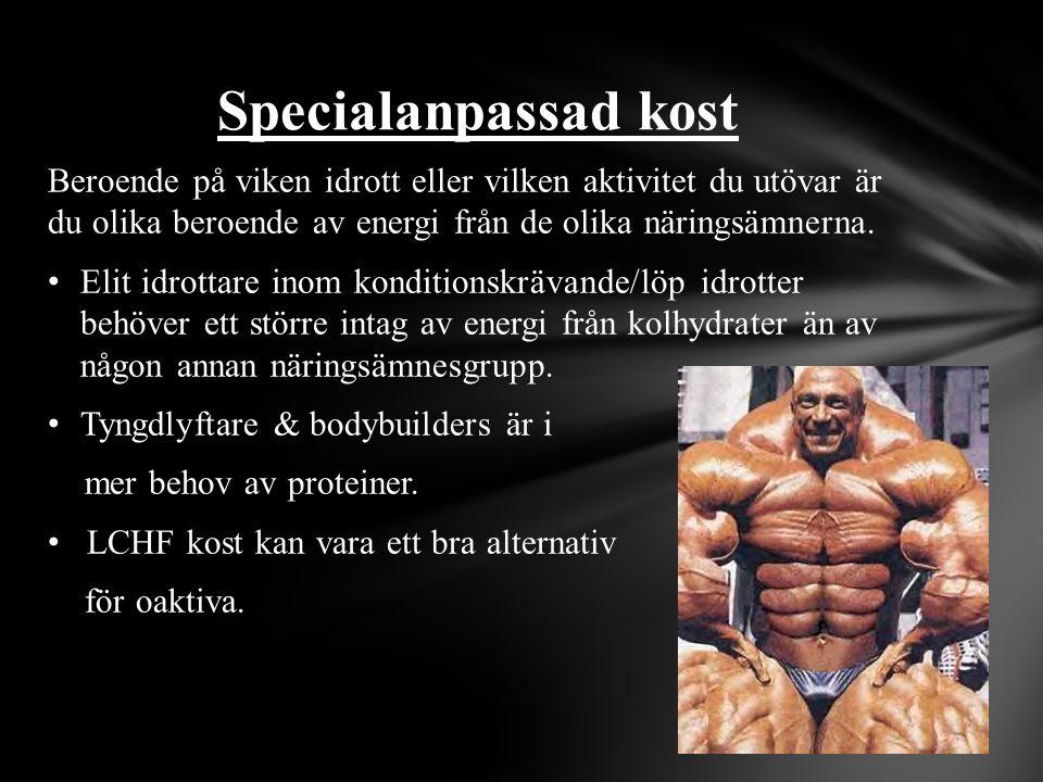 Beroende på viken idrott eller vilken aktivitet du utövar är du olika beroende av energi från de olika näringsämnerna. Elit idrottare inom konditionsk