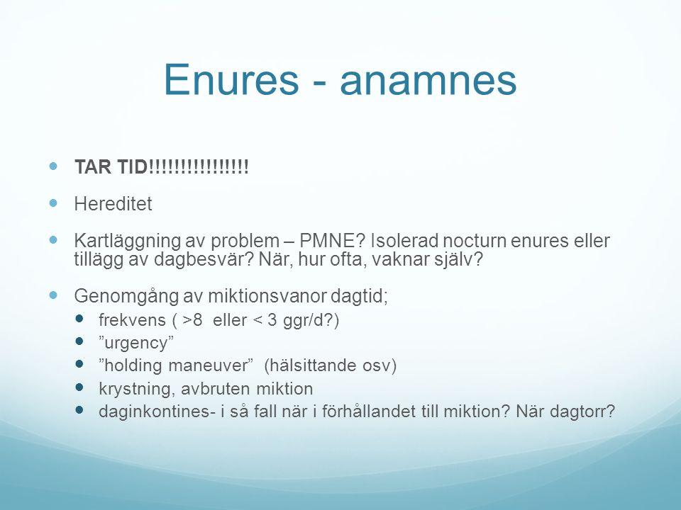 Enures - anamnes TAR TID!!!!!!!!!!!!!!!! Hereditet Kartläggning av problem – PMNE? Isolerad nocturn enures eller tillägg av dagbesvär? När, hur ofta,
