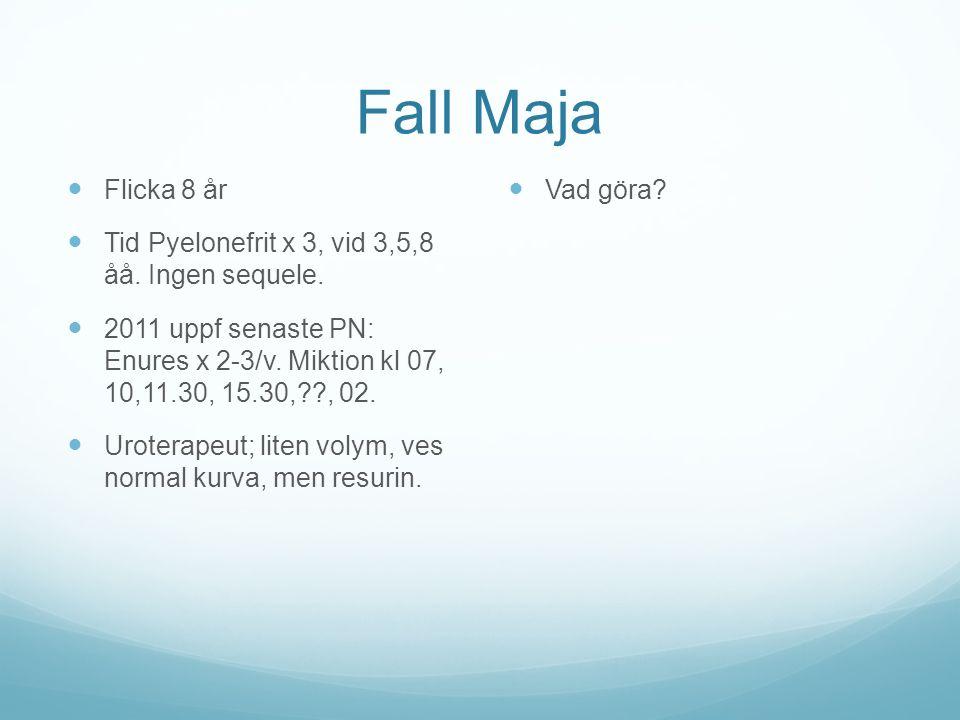 Fall Maja Flicka 8 år Tid Pyelonefrit x 3, vid 3,5,8 åå. Ingen sequele. 2011 uppf senaste PN: Enures x 2-3/v. Miktion kl 07, 10,11.30, 15.30,??, 02. U