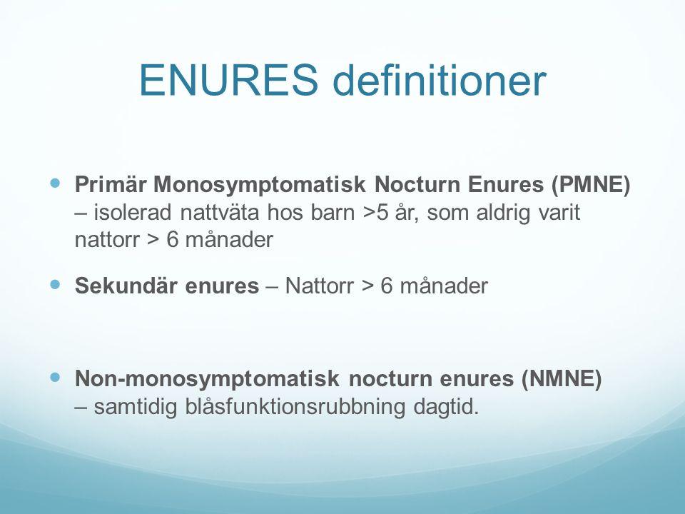 ENURES definitioner Primär Monosymptomatisk Nocturn Enures (PMNE) – isolerad nattväta hos barn >5 år, som aldrig varit nattorr > 6 månader Sekundär en