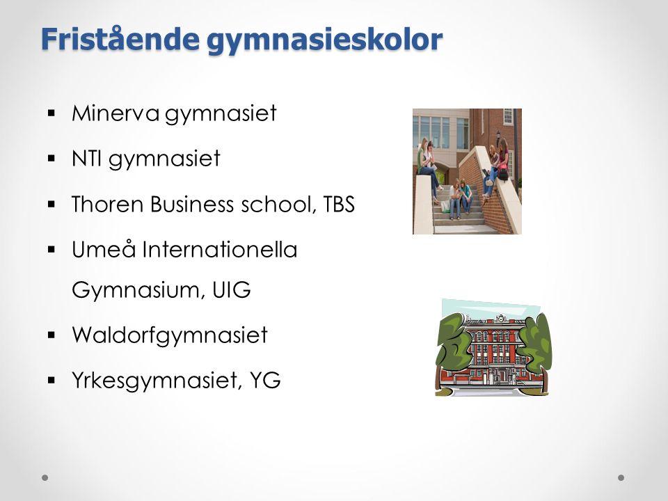 Fristående gymnasieskolor  Minerva gymnasiet  NTI gymnasiet  Thoren Business school, TBS  Umeå Internationella Gymnasium, UIG  Waldorfgymnasiet 
