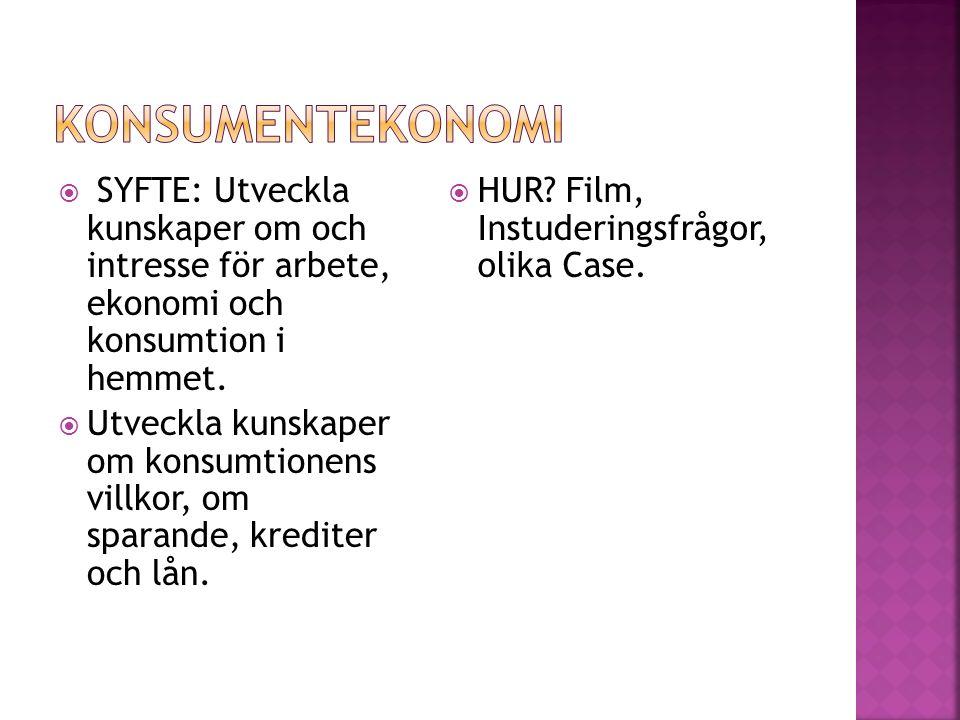  SYFTE: Utveckla kunskaper om och intresse för arbete, ekonomi och konsumtion i hemmet.  Utveckla kunskaper om konsumtionens villkor, om sparande, k