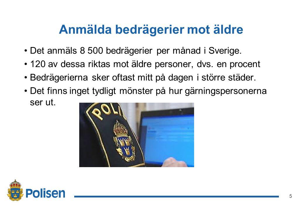 5 Anmälda bedrägerier mot äldre Det anmäls 8 500 bedrägerier per månad i Sverige.
