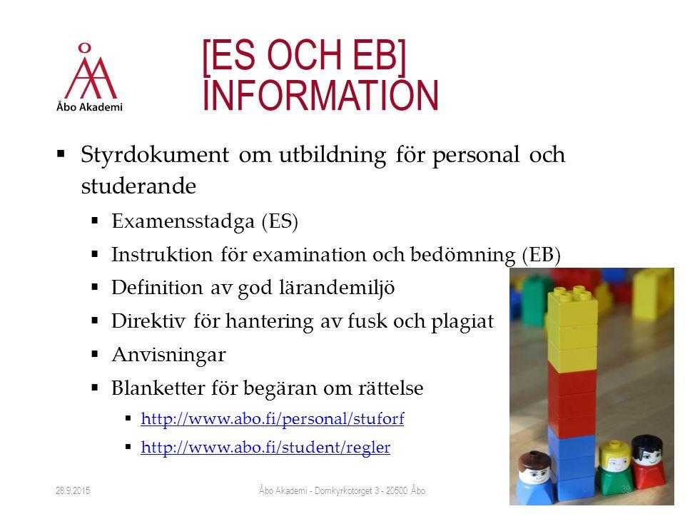  Styrdokument om utbildning för personal och studerande  Examensstadga (ES)  Instruktion för examination och bedömning (EB)  Definition av god lärandemiljö  Direktiv för hantering av fusk och plagiat  Anvisningar  Blanketter för begäran om rättelse  http://www.abo.fi/personal/stuforf http://www.abo.fi/personal/stuforf  http://www.abo.fi/student/regler http://www.abo.fi/student/regler 28.9.2015 [ES OCH EB] INFORMATION Åbo Akademi - Domkyrkotorget 3 - 20500 Åbo 39