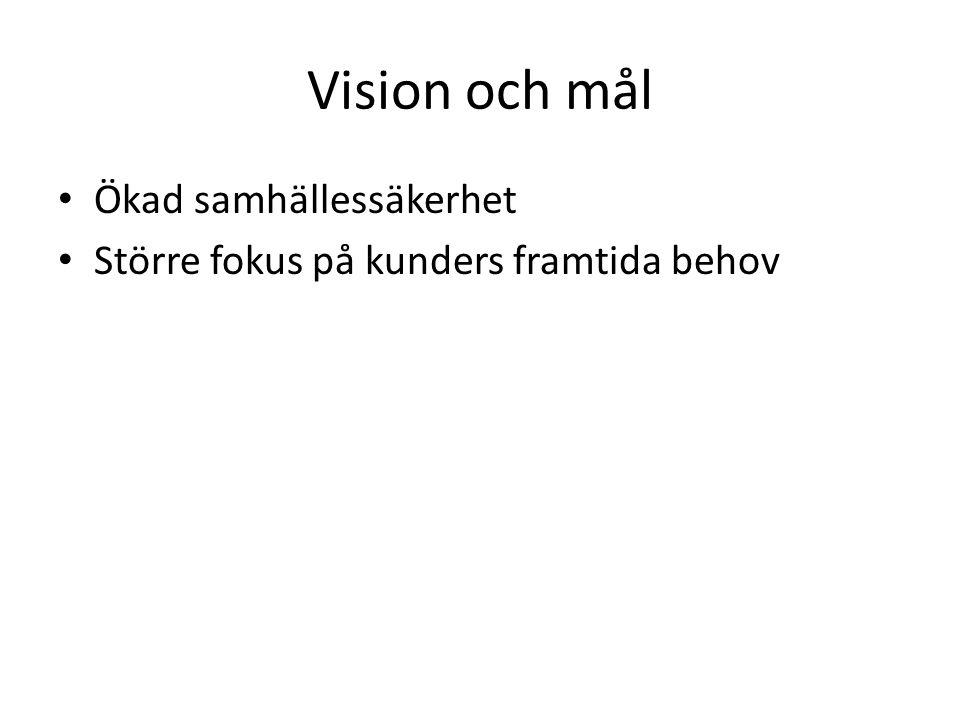 Vision och mål Ökad samhällessäkerhet Större fokus på kunders framtida behov