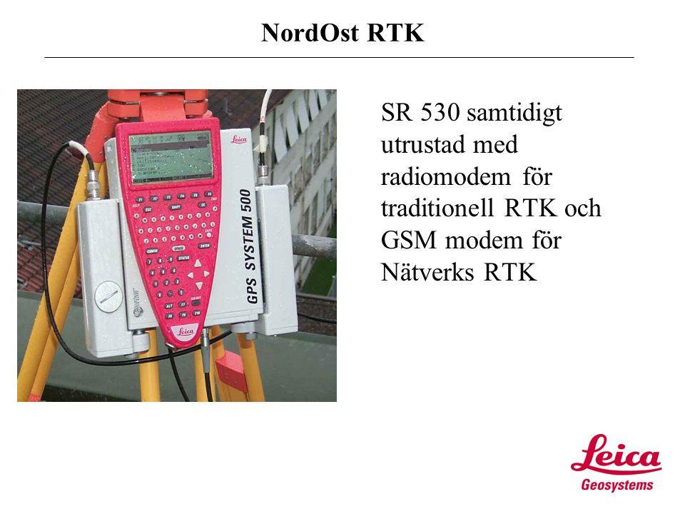 Text NordOst RTK SR 530 samtidigt utrustad med radiomodem för traditionell RTK och GSM modem för Nätverks RTK